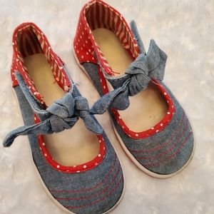 Other - Precious denim and red Mary Jane style tennis shoe